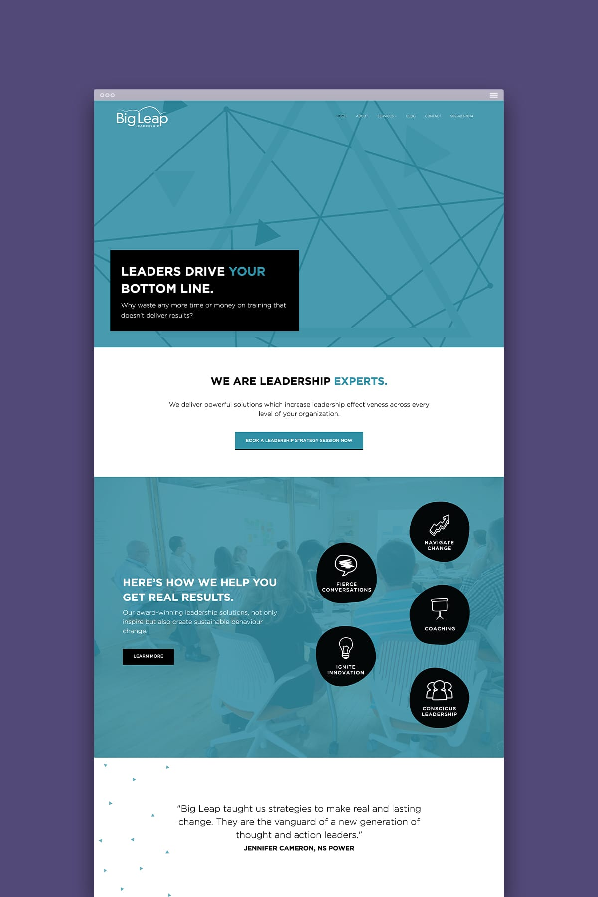 website design for leadership development expert Harriette Schumacher's workshop home page
