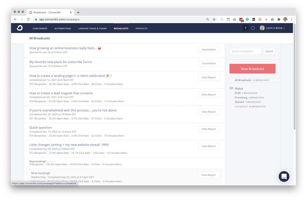 Screenshot of ConvertKit email broadcasts