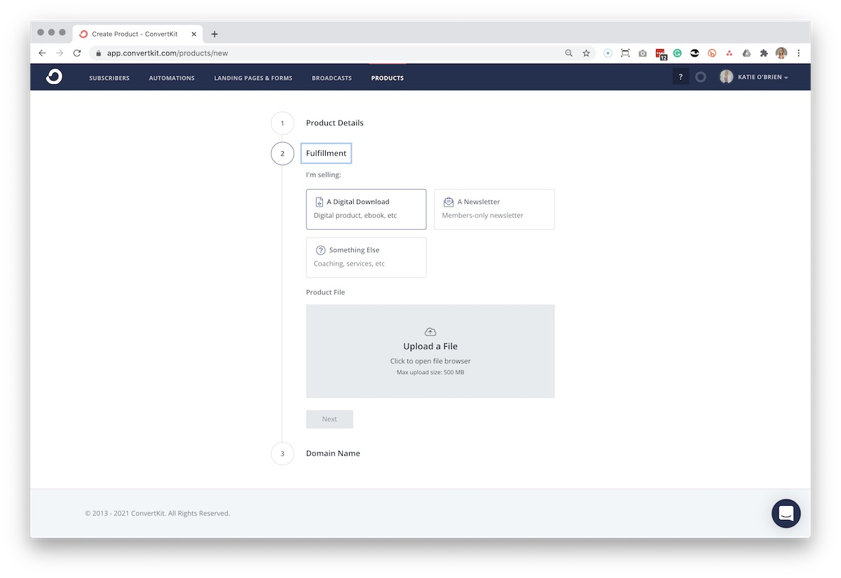 Screenshot of creating a new product in ConvertKit