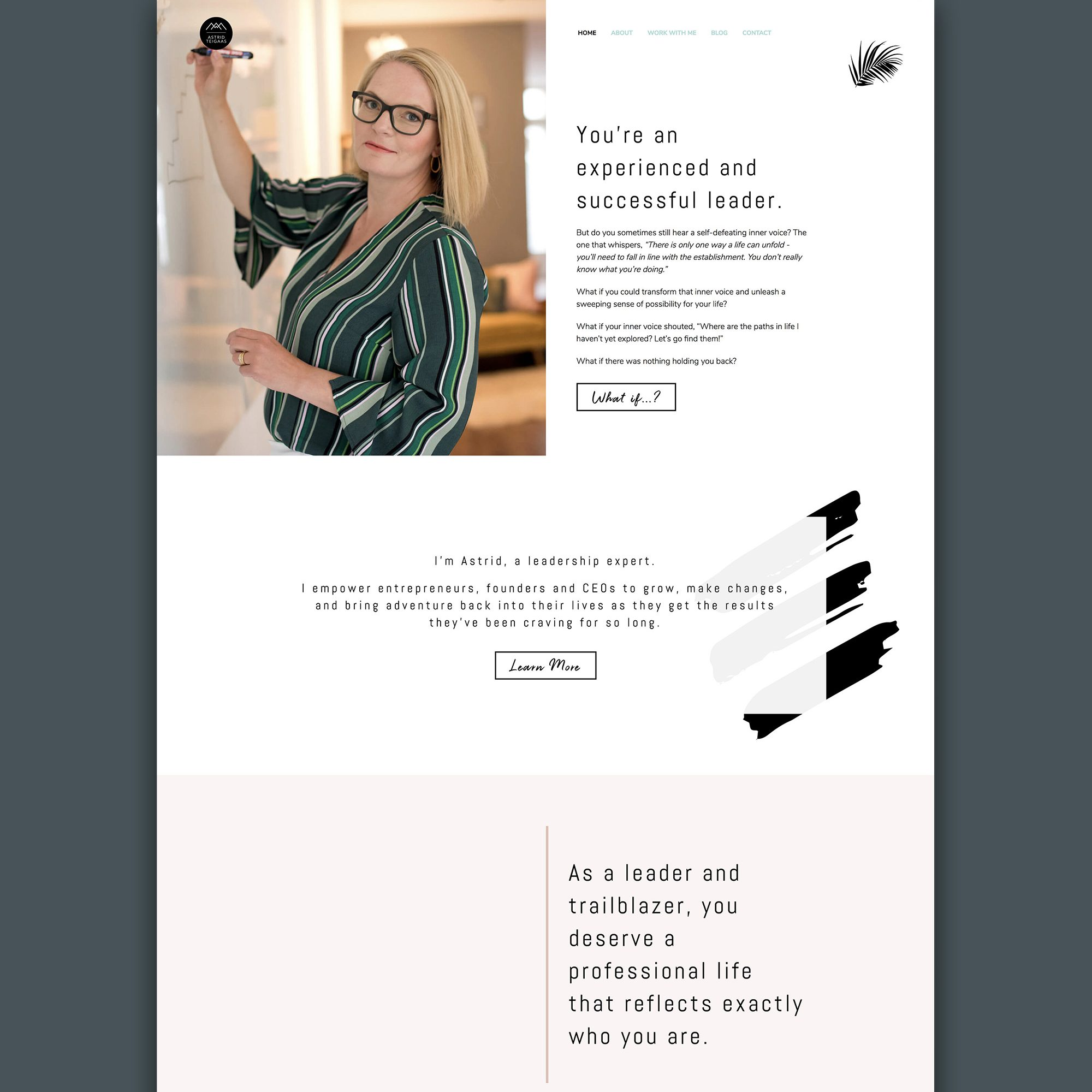 Astrid Teigaas Executive Coach + Leadership Trainer - Client Feature Website Design Dark Background