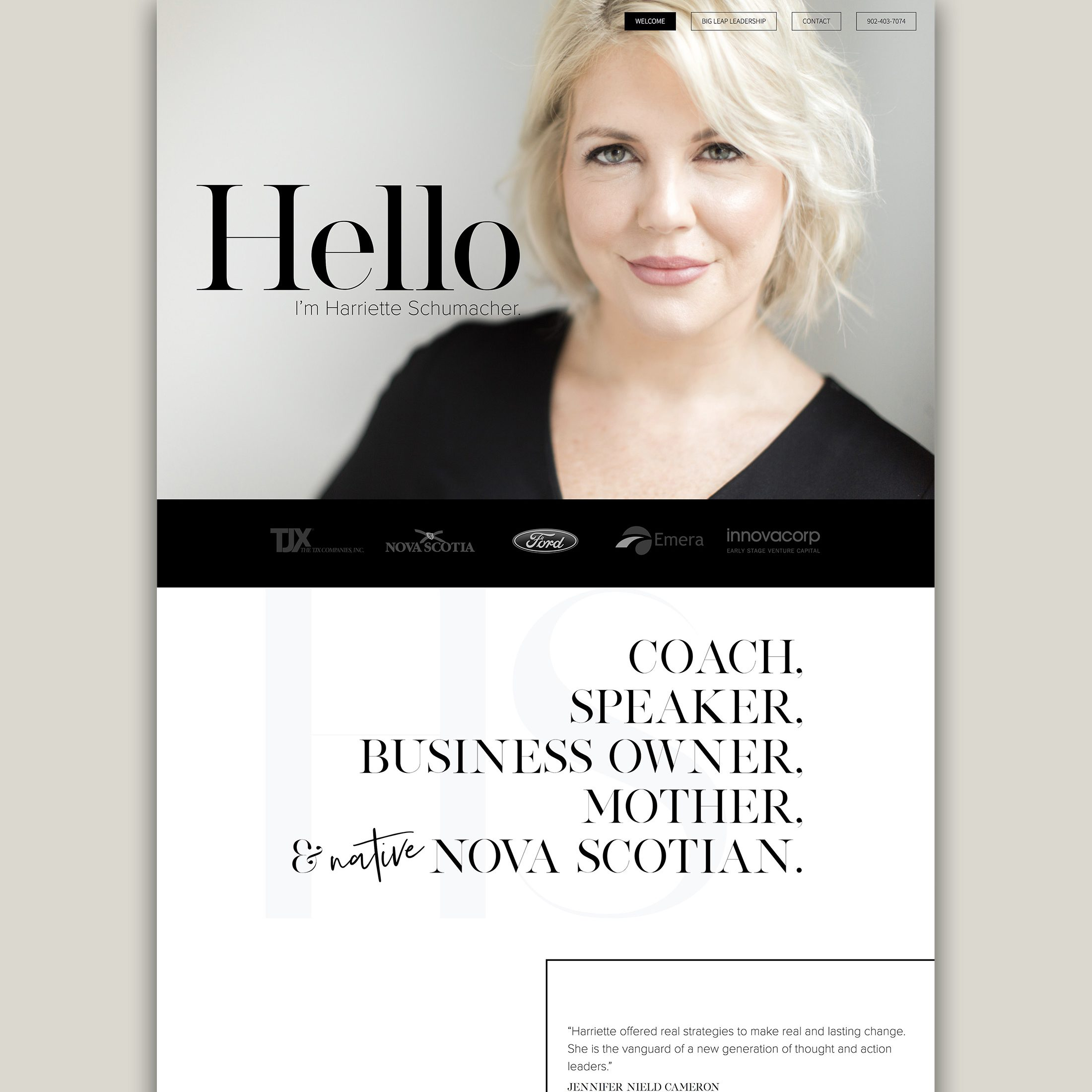 Harriette Schumacher, Executive Coach - Portfolio Client Feature Website Design New
