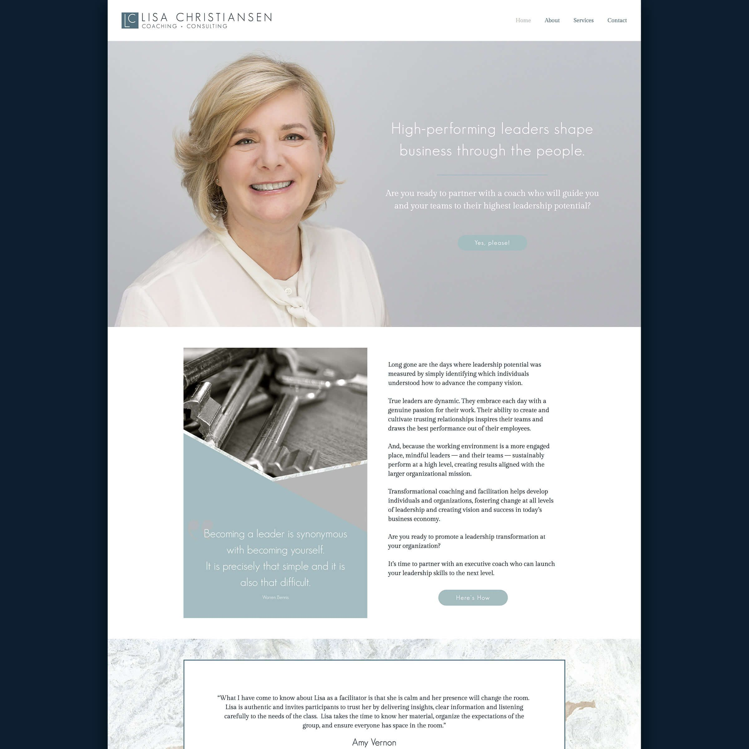 Lisa Christiansen Coach Consultant - Client Feature Website Design Portfolio